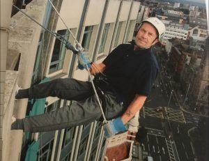 'Plucky' Patrick Elliott completes Europa Belfast abseil aged 75